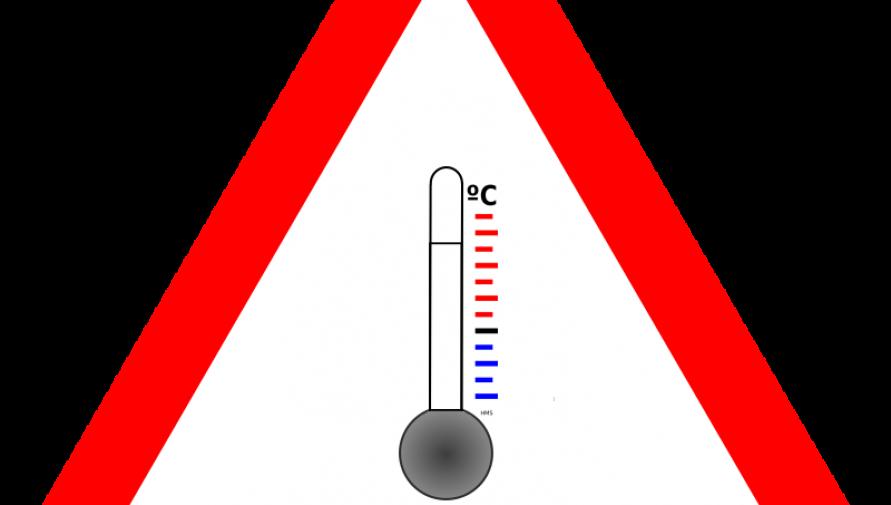 grafika ostrzegawcza z termometrem - Kliknięcie w obrazek spowoduje wyświetlenie jego powiększenia